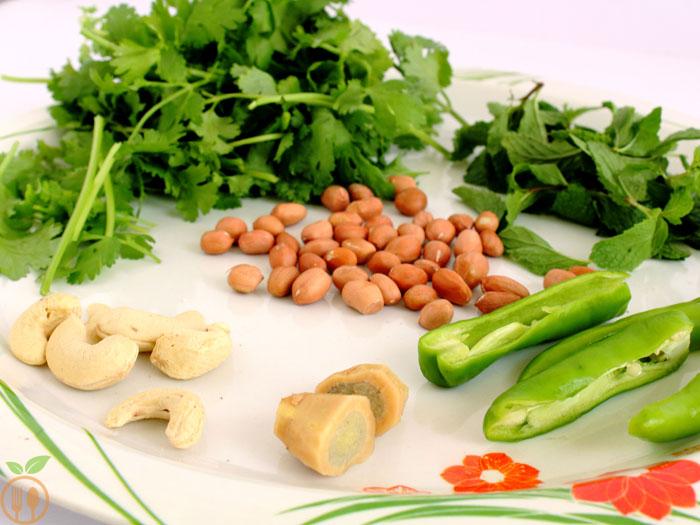 Magical Green Coriander Chutney Recipe (Cilantro Chutney Raw Ingredients)