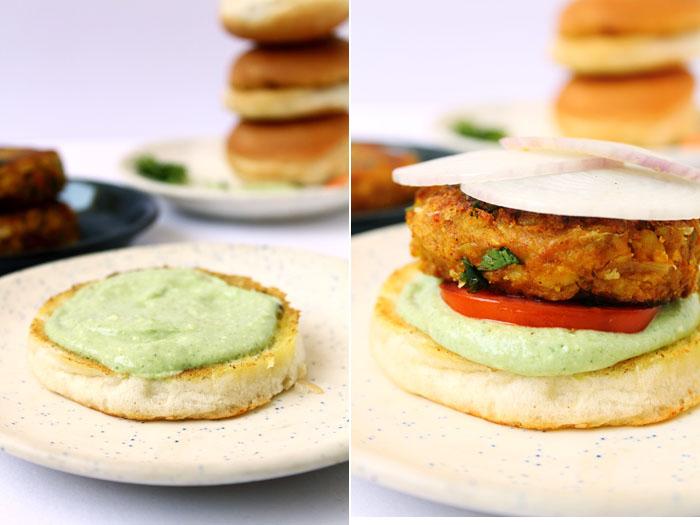 Chickpea Veggie Burger (Steps)