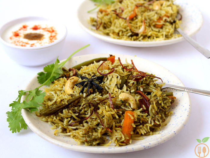 Green Vegetable Dum Biryani OR Veg Palak Biryani