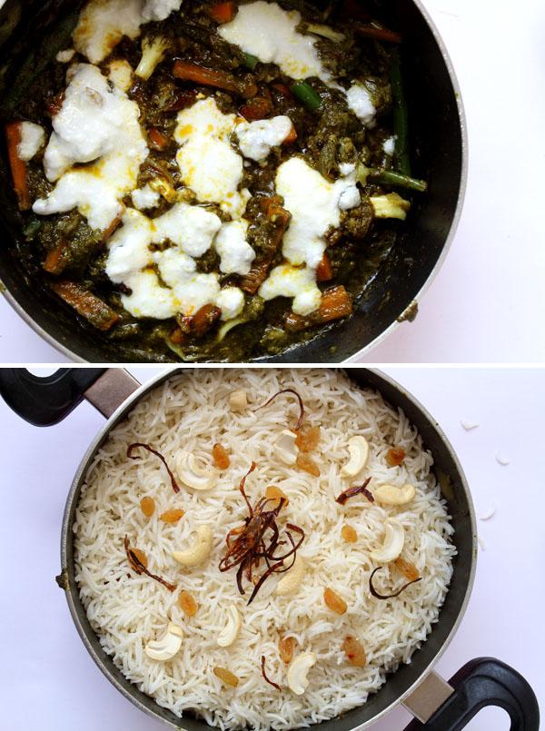 Green Vegetable Dum Biryani (Making Layers)