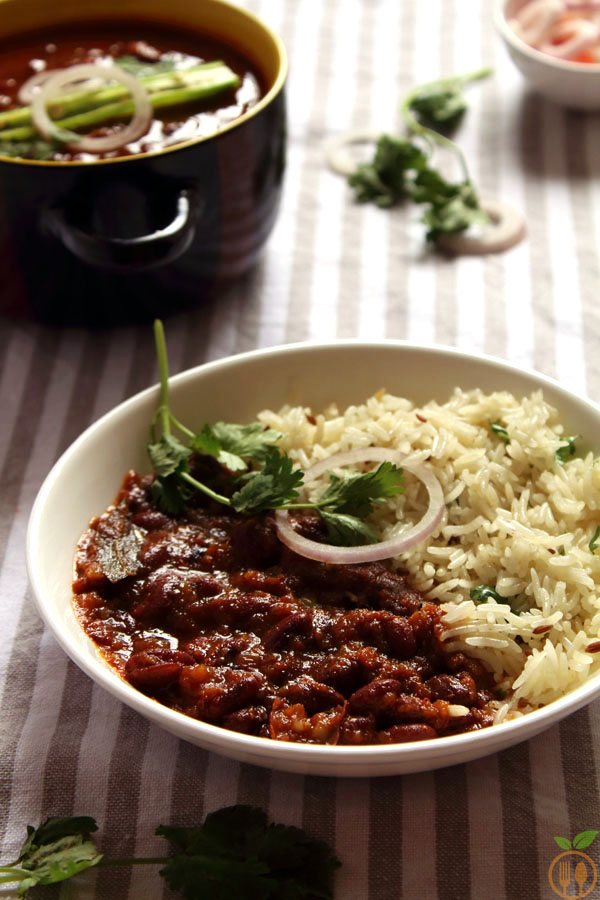 Rajma Curry With Jeera Rice OR Rajma Chawal Recipe - Red kidney beans curry spiced in tomato and onion puree with basmati rice tempered in roasted cumin.