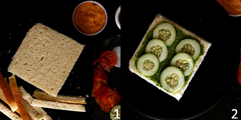 Veg Mayo Sandwich - A mayonnaise sandwich filled with veggies like cucumber, onion, tomato slices balanced with tangy mayonnaise dip made with mayo, tomato ketchup and chilli flax.