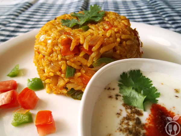 Spicy Capsicum Tomato Fried Rice Recipe