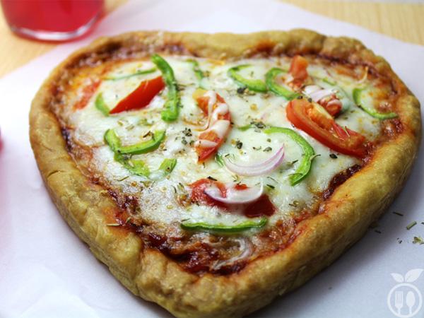 Homemade Heart Shaped Pizza