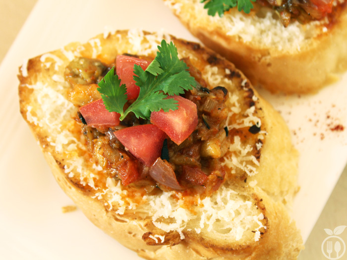 Roasted Eggplant Tomato Bruschetta