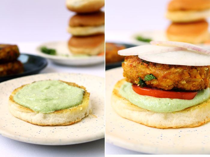 Chickpea Veggie Burger (Steps)