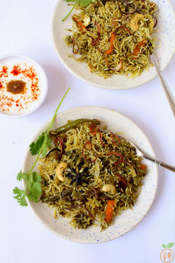 Green Vegetable Dum Biryani OR Veg Palak Biryani