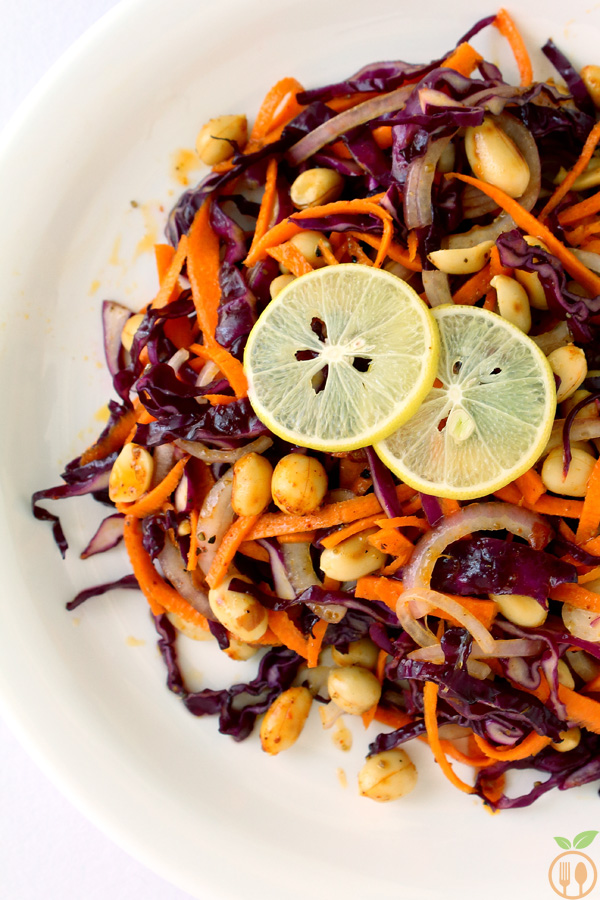 Asian Red Cabbage Salad with Roasted Peanuts