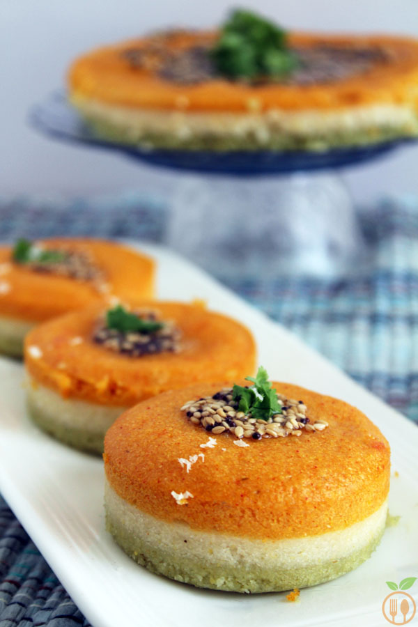 Tri colored Masala Dhokla OR Layered Sandwich Dhokla - Fermented & steamed savory rice and lentil cake.