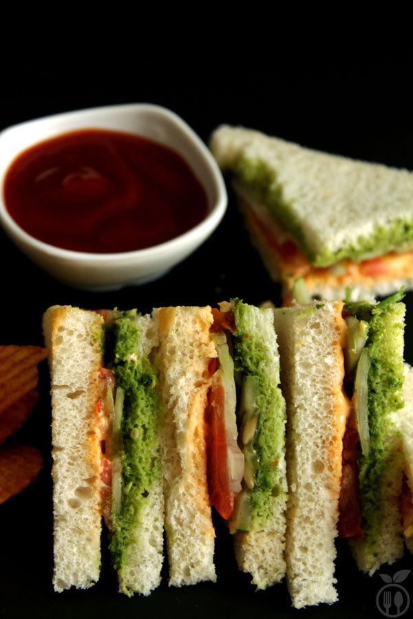 Veg Mayo Sandwich - A mayonnaise sandwich filled withveggies like cucumber, onion, tomato slices balanced with tangy mayonnaise dip made with mayo, tomato ketchup and chilli flax.