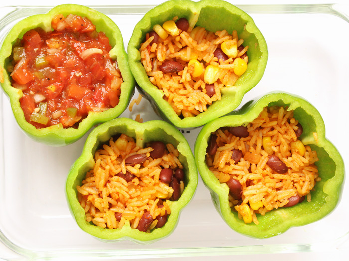 Vegetarian Mexican Style Stuffed Peppers
